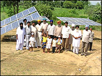 Villagers with their solar panels