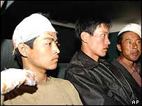 Chinese hostages after release