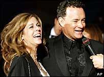 Tom Hanks, protagonista de La Terminal, y su esposa en Venecia.