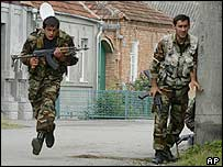 Russian troops near the school in Beslan. Picture: 2004