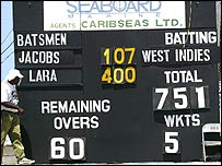 The scoreboard showing Brian Lara's 400 not out