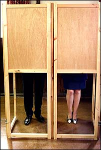William and Ffion Hague cast their votes in the 2001 election