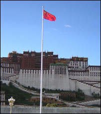 national flag in front of the Potala palace