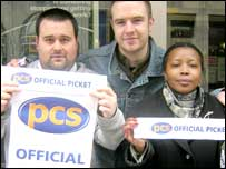 Employees picketing their job centre