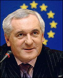 Irish Prime Minister Bertie Ahern at the European Parliament in Strasbourg