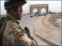 Soldier on patrol in Basra