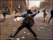 Protestas en Buenos Aires por la visita de Rato a Argentina.