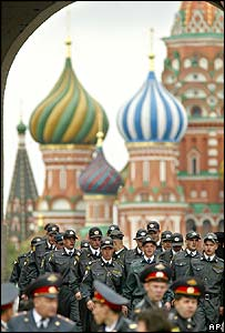 Police officers march across Red Square, Moscow
