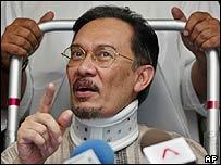 Freed former Deputy Prime Minister Anwar Ibrahim