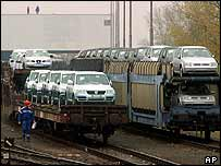 Volkswagen cars off the Bratislava production line
