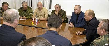 Presidente Vladimir Putin reunido con autoridades de Osetia del Norte.
