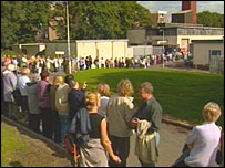 Protesters encircled the Vale of Leven Hospital