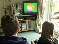 Children watching cartoons