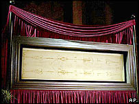 Shroud on view in Turin in 2000