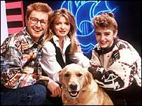 Caron Keating (centre) on Blue Peter