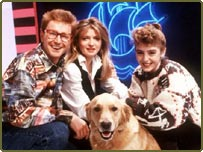 Caron Keating (centre) presented Blue Peter from 1986-1990