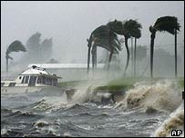 A boat is battered by waves off Jensen Beach, Florida