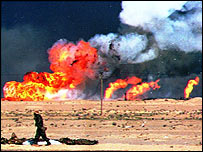 Oil wells burn in Kuwait during the 1991 Gulf War