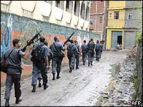 Police patrol Rocinha on Monday