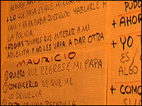 Pablo writes prompts on the wall