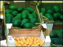 Frutas en un mercado europeo