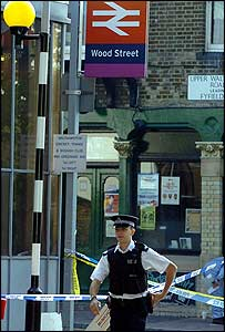Policeman at the scene of the stabbing