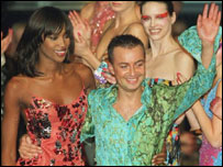 Designer Julien MacDonald with model Naomi Campbell