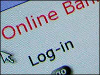 Log-in screen of online bank