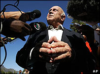 Former South African President FW De Klerk after voting in Cape Town