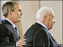 Ariel Sharon and George Bush