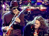 Santana performing with Mana during the first annual Latin Grammy Awards