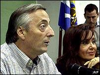 Nestor Kirchner y su esposa Cristina Fernández.