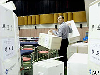 Polling boxes are set up for South Korean election
