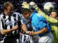 Alan Shearer heads Newcastle in front against PSV