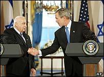 Ariel Sharon and George W Bush