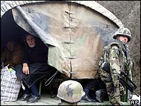 Serbian woman with Nato forces