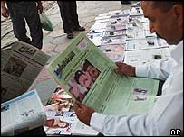 Newspaper seller in Iraq