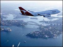 Qantas jet over Sydney