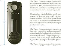 Brochure image of Vocera communicator, Vocera