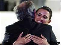Penelope Cruz hugs Steven Spielberg