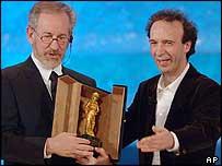 Steven Spielberg with Roberto Benigni