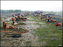 Rows of fresh graves for the victims of the school siege in Beslan