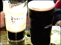 Two glasses of Guinness