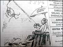 Newspaper cartoon illustrating how warlords hold the country hostage