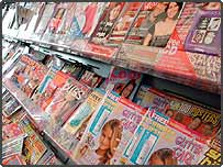 Magazines in newsagents