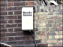 Burglar alarm on a wall