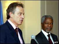 Tony Blair and Kofi Annan