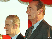 Hafez al-Assad and Jacques Chirac