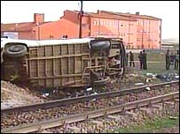 The minibus was hit by a train on a railway crossing
