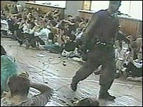 Video footage of the hostages and one of the hostage-takers in the school gym in Beslan